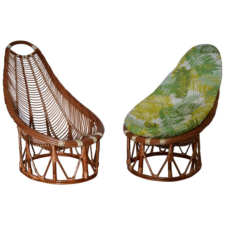 1980s Pair of Bambou and Rattan Armchairs For Sale