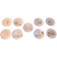 Set of Nine Paris View Plates