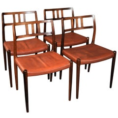N. O. Møller Rosewood Dining Chairs Model 79