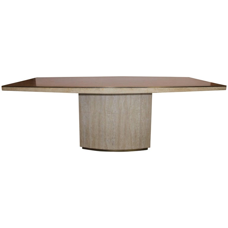 Willy Rizzo, Large Dining Table, Marble and Strapping in Gilt Brass, circa 1970