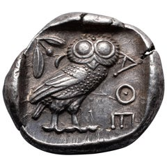 Ancient Greek Silver Owl Tetradrachm from Athens, 454 BC