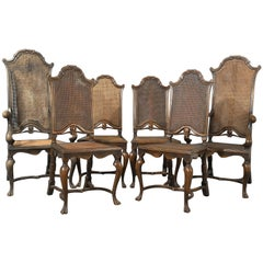 Antique Set of Six Walnut Bergere Cane Chairs by Liberty of London, circa 1880