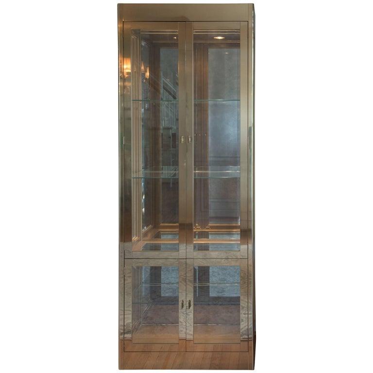 Smashing Mid-Century Modern Mastercraft Brass, Glass and Mirror Cabinet