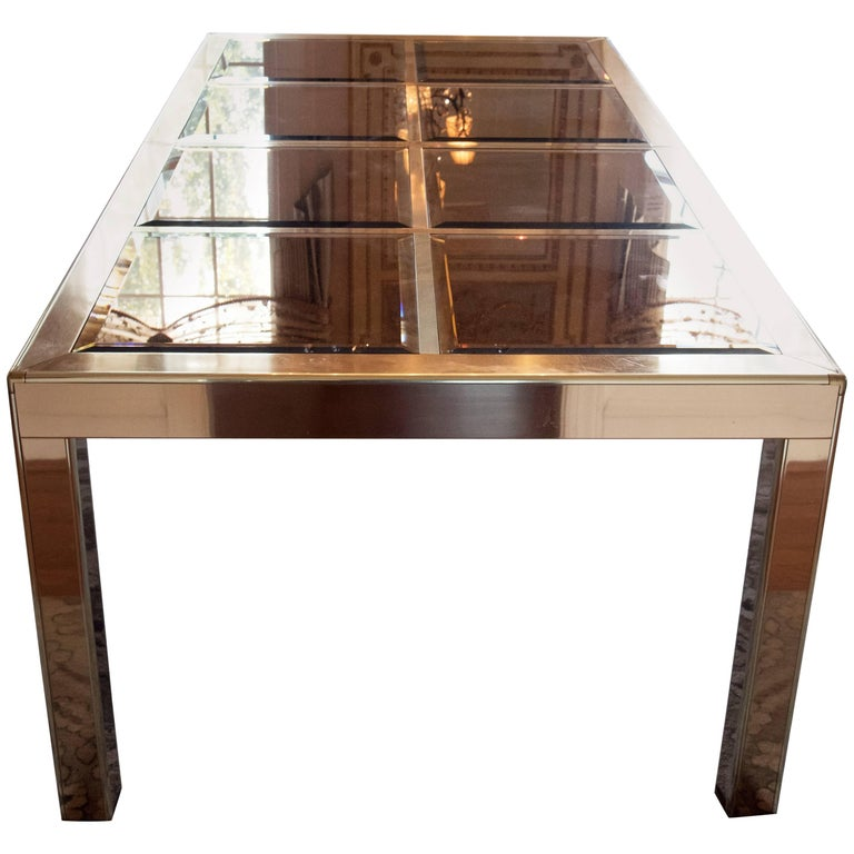 Superb Mid-Century Modern Mastercraft Brass and Bevelled Glass Dining Table