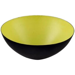 Large Krenit Bowl by Herbert Krenchel, Black Metal and Mint Green Enamel, 1970s