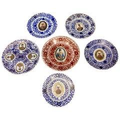 Set of Six Late 19th Century Ceramic Qajar Plates Featuring Eastern Potentates