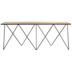 Bespoke Long Giraffe Console Table in Black Steel and Oak