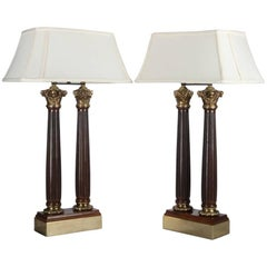 Pair of Classical Double Light Mahogany and Bronze Column Table Lamps