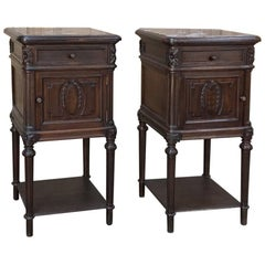 Pair of 19th Century Marble-Top Neoclassical Nightstands