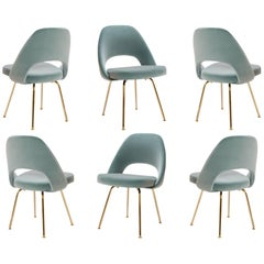 Saarinen Executive Armless Chairs in Celadon Velvet, 24k Gold Edition, Set of 6