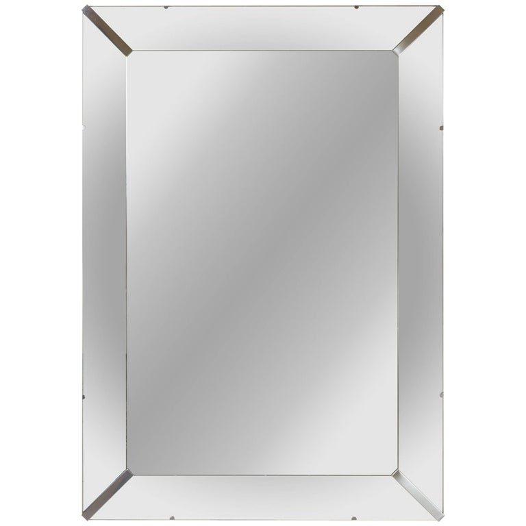 Grand Beveled Mirror with Nickel Accents
