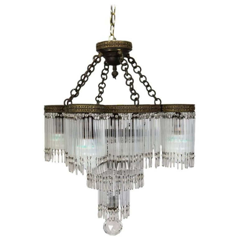 Antique Art Deco Tiered Crystal and Bronze Five-Light ...