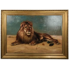 Monumental Oil on Canvas Painting of Recumbent Lion, Giltwood Framed