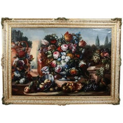 Monumental Fruit and Floral Still Life Oil on Canvas Painting, Signed 1934