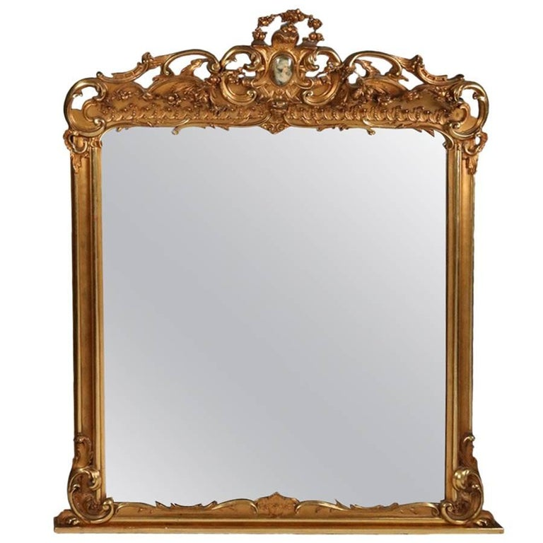 Monumental antique french marie antoinette pierced for Mantel mirrors