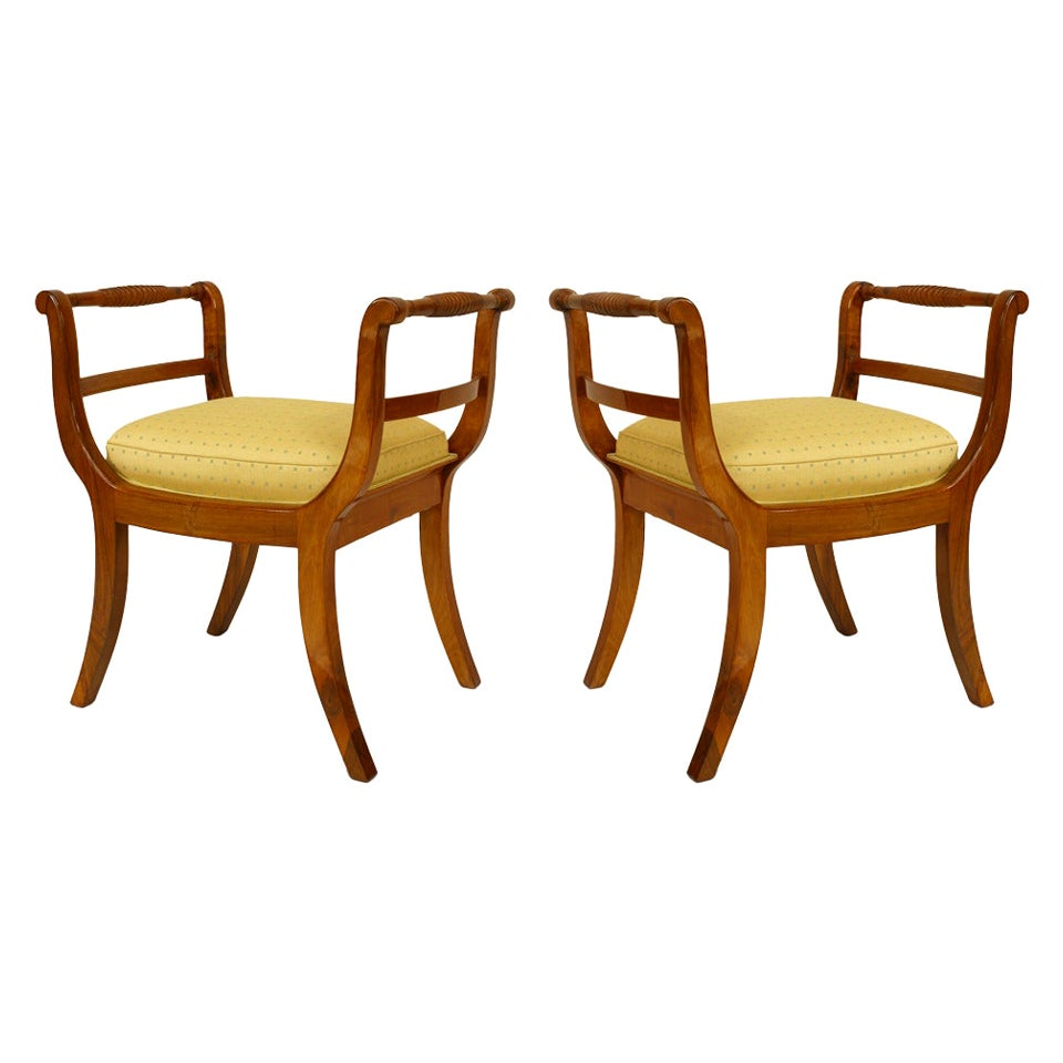 Pair of South German Biedermeier Walnut Benches