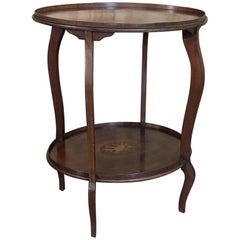 Antique French Mahogany Marquetry Inlaid Oval End Table