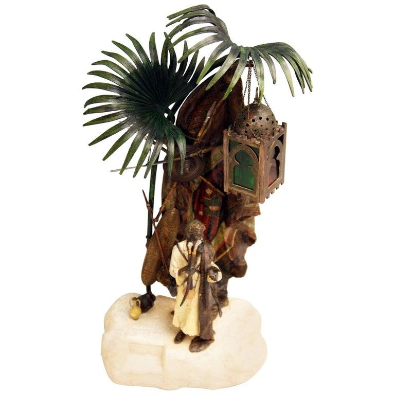 Vienna Bergmann Bronze Lamp Arab Man with Carpet made circa 1910 For Sale