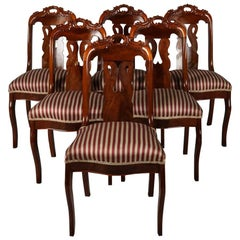 Set of six Antique French Flame Mahogany Gondola Upholstered Side Chairs