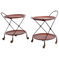 Pair of 1950s Swedish Mid-Century Serving Table or Trolley Tea Cart