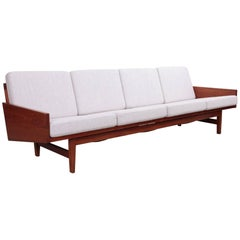 Rare Solid Walnut Arden Riddle Four-Seat Sofa, USA, 1967