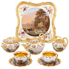Neoclassical Style French Antique Paris Porcelain Eight-Piece Tea Set