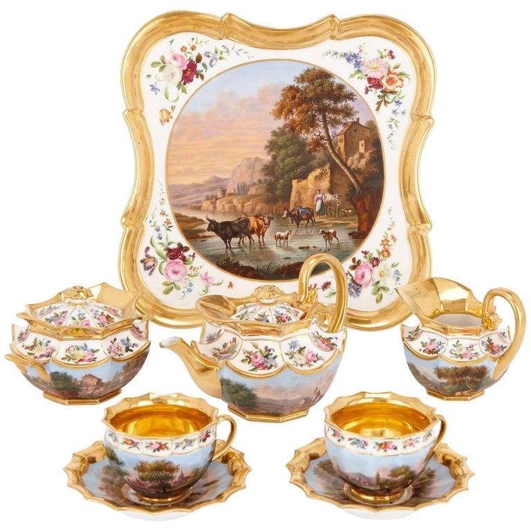 Neoclassical Style French Antique Paris Porcelain Eight-Piece Tea Set 1