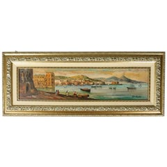 Italian Oil on Canvas Painting of Harbor Scene in Gulf of Naples, Signed Bellos