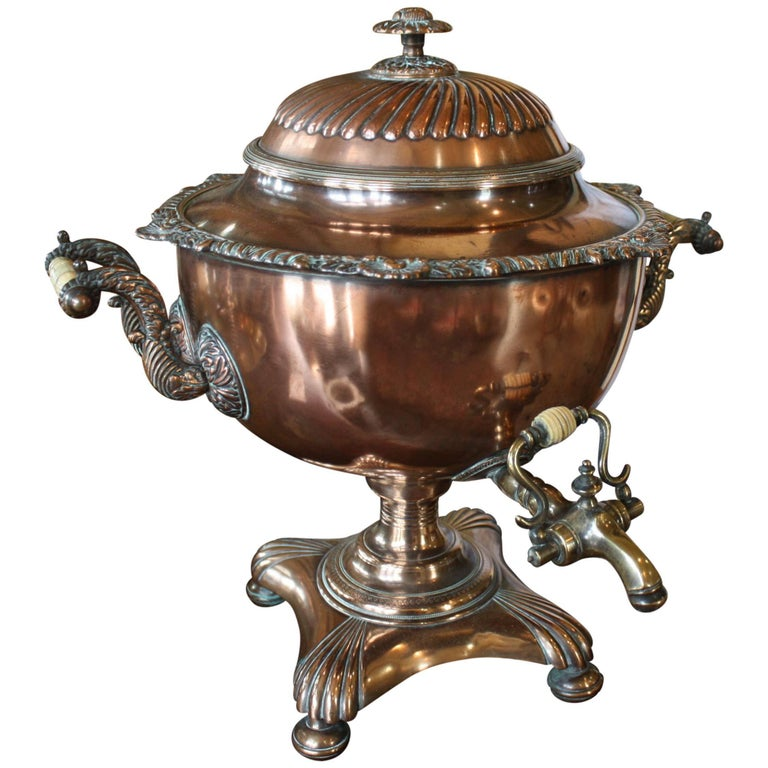French Copper and Brass Samovar or Tea Urn