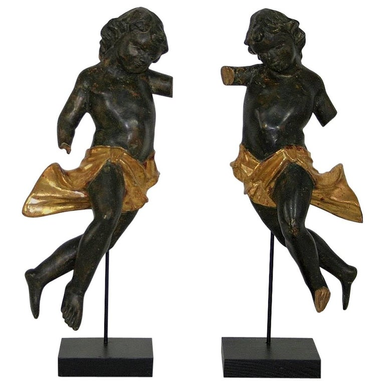Pair of Late 18th Century, Italian Carved Wooden Baroque Angels