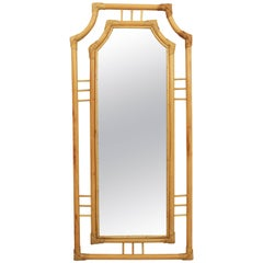 Large Chinoiserie Bamboo Rectangular Wall Mirror, Spain, 1960s