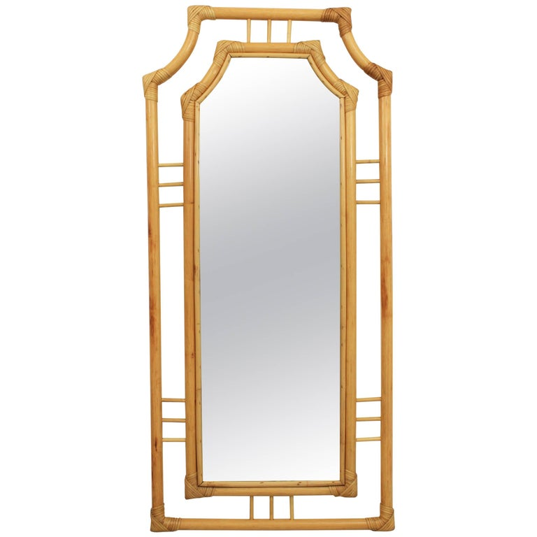 Large Chinoiserie Bamboo Rectangular Wall Mirror, Spain 1960s