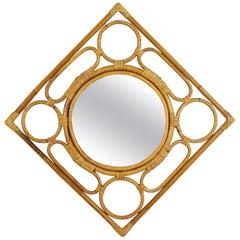 Unusual Vintage Rhombus Bamboo Mirror with Geometric Figures Frame, Spain 1960s