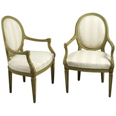 Pair of Green Painted Open Armchairs