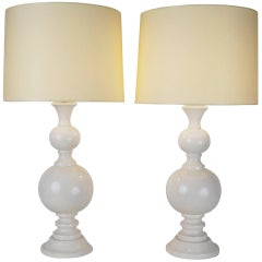 Late 20th Century Pair of Lacquered Wooden Table Lamps by Philippe Capelle