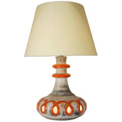 1970 Orange and Grey Ceramic Table Lamp