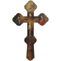 Antique Russian or Orthodox Christian Hand-Painted Wooden Crucifix or Cross