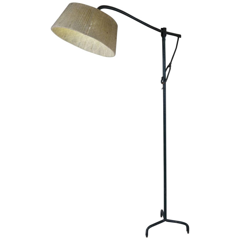Leather-Wrapped Floor Lamp by Jacques Adnet