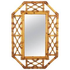 Mid-Century Modern Tiki Style Filigree Bamboo Mirror, Spain, 1960s