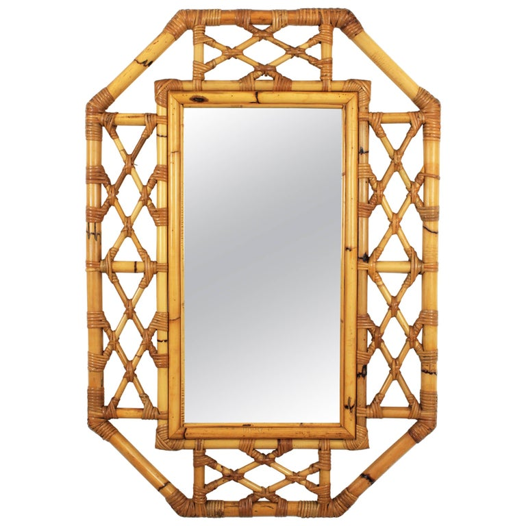 Mid-Century Modern Tiki Style Filigree Bamboo Mirror, Spain, 1960s For Sale