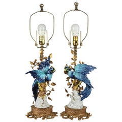 Pair of Sevres Figural Hand-Painted and Gilt Porcelain and Bronze Table Lamps