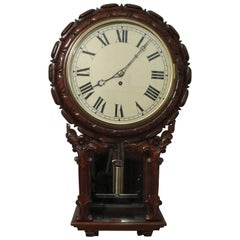 English Victorian Carved Mahogany Drop Dial Timepiece Wall Clock