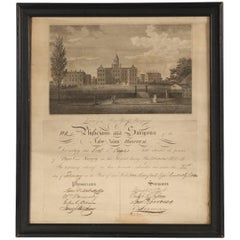 Early 19th Century Medical Document from New York Hospital with Engraving