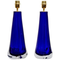 "Pair of Table Lamps in Murano Glass Signed by ""Toso Murano"""