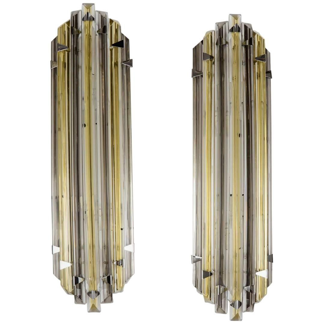 Pair of Wall Sconces in Murano Glass
