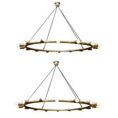 Glustin Luminaires Creation Brass Hoop Chandeliers