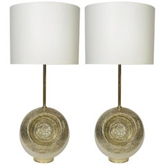 Pair of White Enameled Metal and Hammered Brass Table Lamps