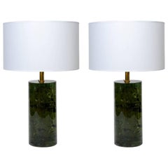 Deep Green Fractal Resin Table Lamps