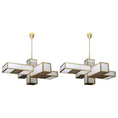 Glustin Luminaires Creation Geometrical Brass and Alabaster Chandeliers