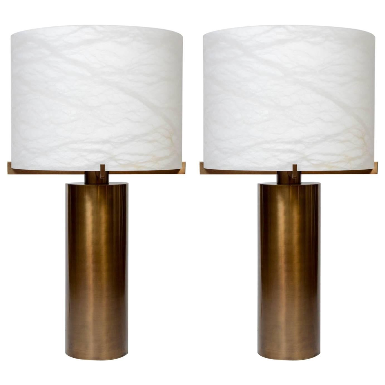 Glustin Luminaires Creation Brass and Alabaster Shades Table Lamp